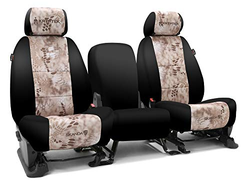 Third Row SEAT: ShearComfort Custom Kryptek Neo-Supreme Seat Covers for Chevy Tahoe (2007-2014) in Black w/Kryptek Neo-Supreme Nomad for 50/50 Split 3 Person Folding Bench w/Adjustable Headrest.