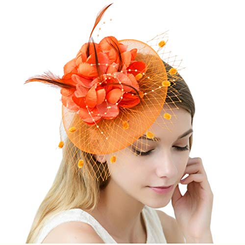 Sinamay Vintage Women Fascinators Derby Hat Feather with Headband Cocktail Headpiece for Tea Party Wedding (One Size, Orange) -