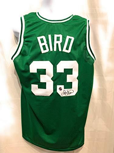 Larry Bird Boston Celtics Signed Autograph Custom Jersey Green Bird Hologram Certified