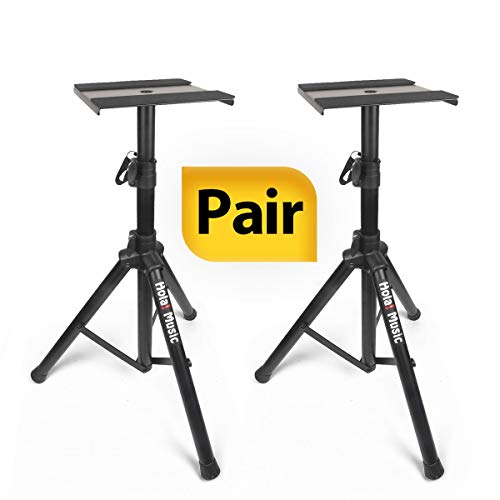 PAIR of Studio Monitor Speaker Stands by Hola! Music, Professional Heavy-Duty Tripod Structure, Adjustable Height, Model HPS-600MS