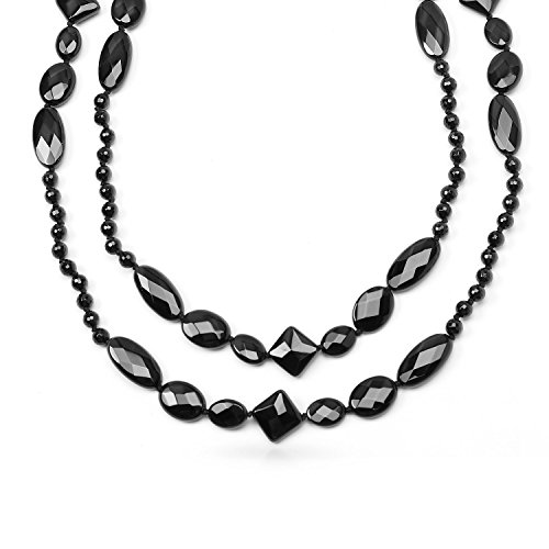 Bling Jewelry Rhodium Plated Assorted Geometric Faceted Onyx Beads Necklace 53 Inches (Geometric Onyx Necklace)