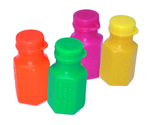 Mini Neon Party Bubbles - Pack Of 48 School Classroom, Day Camp Bubble Bottles -
