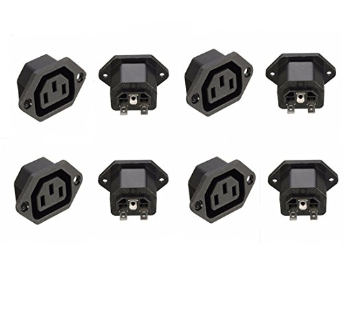 GFORTUN 8PCS AC 250V 10A IEC 320 C13 Panel Mount Female Inline Power Outlet Connector Socket Plug Adapter 3 Pin