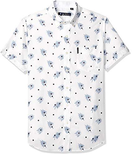 Ben Sherman Men's SS Palms DOT Print Shirt, Snow White, XL