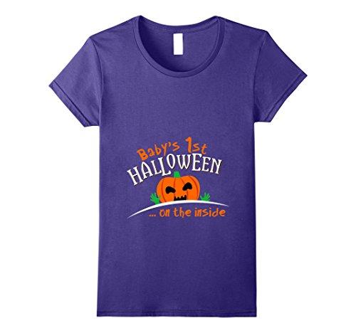 Womens Baby's Pumpkin 1st Halloween On The Outside T-shirt XL (Pregnant Halloween Ideas)