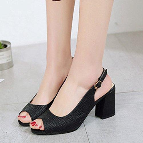 Sangle forme Peep Chaussures Femmes Anti Sexy dérapant Cheville Plate Toe Talon Découper Trapu Noir La Sandales KF1Jcl