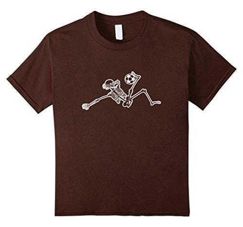 Kids Sliding Save Skeleton Soccer Player Halloween Costume TShirt 10 Brown
