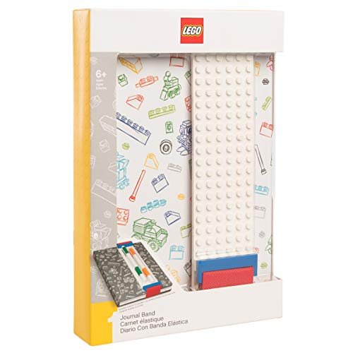 (LEGO Stationery - Journal with Band (White) and Building Bricks)