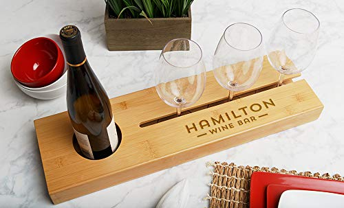 Qualtry Personalized Wine Bottle and Glass Tray 22.5in x 6.5in with Optional Personalized Wine Glasses - Unique Bar Gifts for Hostess, Housewarming and Wedding (Hamilton Wine Bar Design) ()