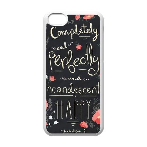Austen Happy coque iPhone 5C Housse Blanc téléphone portable couverture de cas coque EBDOBCKCO13058