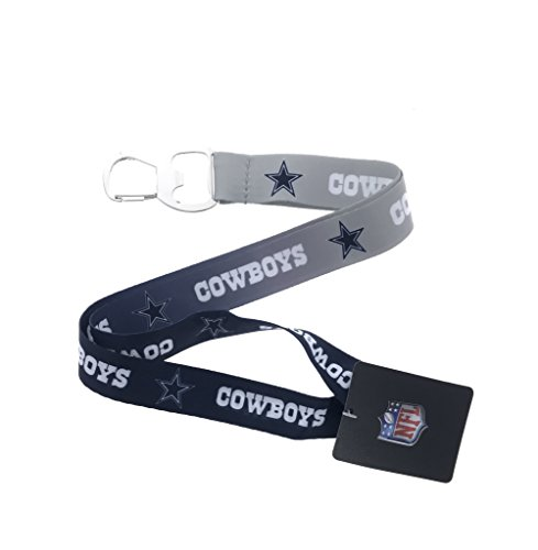 Football Sports Fan Keychain Lanyard with Bottle Opener, Ombre Color (Cowboys)
