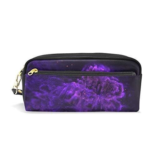 Pen Case Purple Charcoal Flame Pencil Pouch Makeup Cosmetic Travel School Bag
