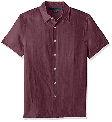 Perry Ellis Men's Short Sleeve Solid Linen Cotton Button-Up Shirt, Rhododendron, Extra Large (King Covers Size Duvet Mens)