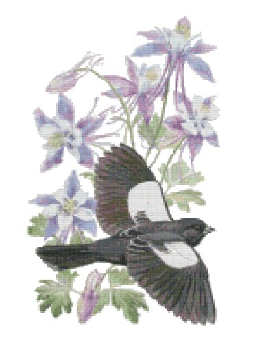 Colorado State Bird (Lark Bunting) and Flower (Rocky Mountain Columbine) Counted Cross Stitch Pattern