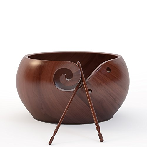 Ravel Large Wooden Yarn Bowl Set For Knitting Crochet With Two Different Size Hooks (1 x H-8 5mm, 1 x J-10 6mm), 7x4 inches Handcrafted Rosewood Yarn Holder and Velvet Bag - Great by Ravel