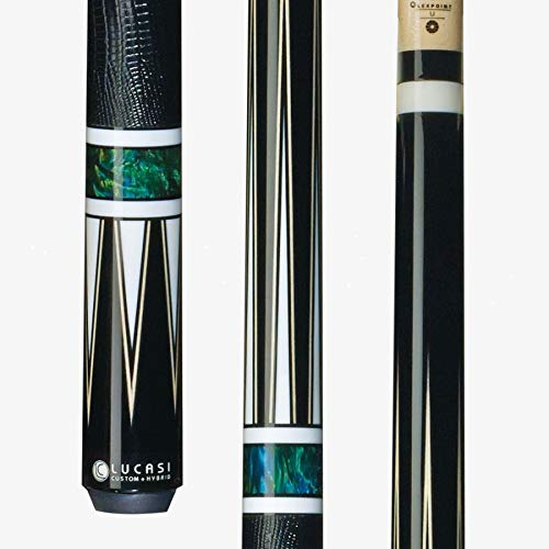 Lucasi Custom Hybrid Pool Cue Stick LHC80 w/Zero Flexpoint Spliced Shaft, Black Lizard Grip & Kamui Pro Tip