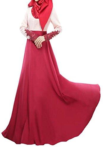 Grande Donne Vestito Musulmano Rosso Del Orlo Merletto Cromoncent Lungo Grattacielo Manicotto Pieghettato Islamico qqYUwTR