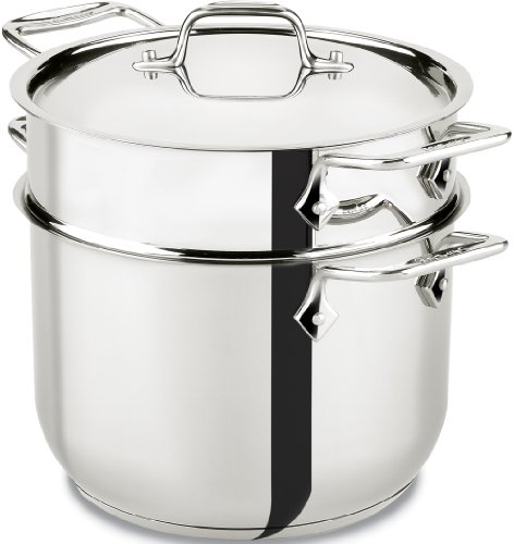 All-Clad E414S6 Stainless Steel Pasta Pot and Insert Cookware, 6-Quart, Silver ()