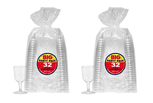 5.5 oz. Clear Reusable Plastic Wine Glasses Cocktail and Drink Party Drinkware and Barware bundled by Maven Gifts (Kitchen Barware)