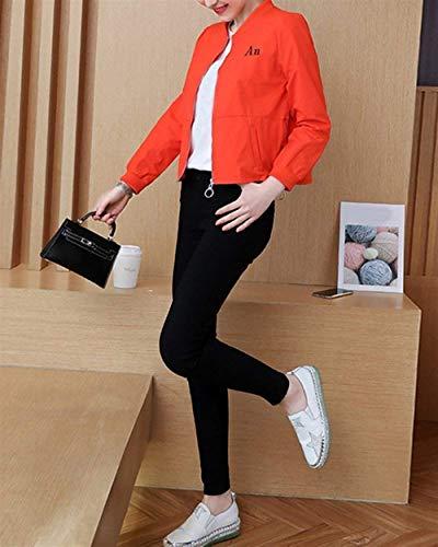 Chaqueta Larga Fit Naranja Con Ropa Elegantes Impreso Slim Cremallera Carta Hipster Chic Mujer Abrigos Moda Manga Único Outerwear ZrxOHTwqZK