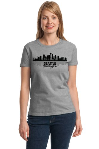 SEATTLE CITY SKYLINE Ladies' T-shirt / Space Needle, 206, Pike Place Tee