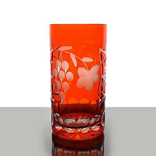 Longdrink, water glass ''Traube'' (340ml) orange, modern style, glass (CRISTALICA KINGDOM powered by CRISTALICA)