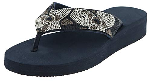 Capelli New York Faux Leather Thong with Multi Crystal Embellishments Ladies Flip Flop Navy Combo 7