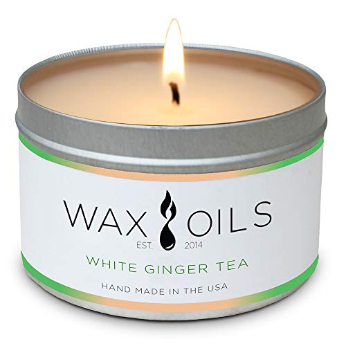 Wax and Oils Soy Wax Aromatherapy Scented Candles (White Ginger Tea) 8 Ounces. Single