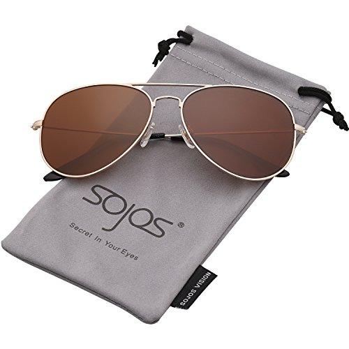 SojoS Classic Aviator Polarized Sunglasses Mirrored UV400 Lens SJ1054 (C7 Gold Frame/Brown Lens, - Best Large Sunglasses For Heads