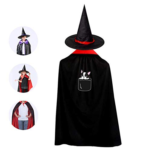 69PF-1 Halloween Cape Matching Witch Hat Pocket Dog Wizard Cloak Masquerade Cosplay Custume Robe Kids/Boy/Girl Gift Red ()