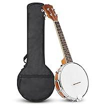 23 Inch Concert Banjo Ukulele 4 String Sapele Wood Banjolele with 5mm Padded Bag