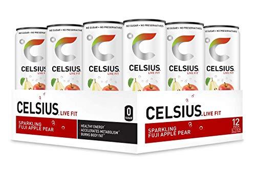(CELSIUS Sparkling Fuji Apple Pear Fitness Drink, ZERO Sugar, 12oz. Slim Can, 12 Pack )