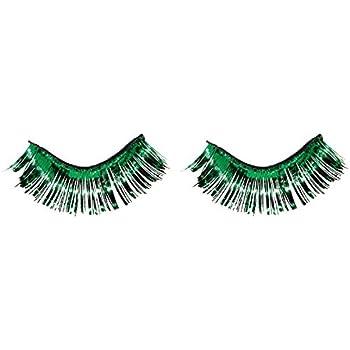"Amscan Party Ready Team Spirit Tinsel Eyelashes (2 Pack), Green, 5.5 x 5.3"""