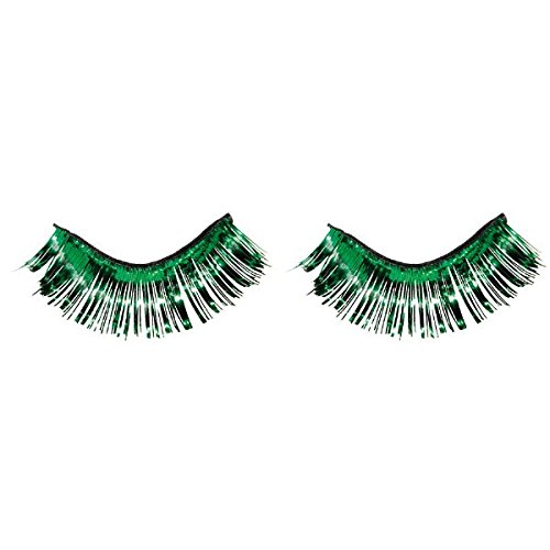 Amscan Party Ready Team Spirit Tinsel Eyelashes (2 Pack), Green, 5.5 x 5.3