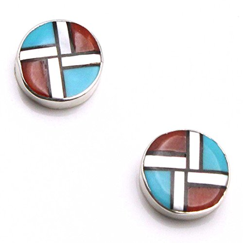 Zuni Multi-Stone Inlay Stud Earrings By Martinez