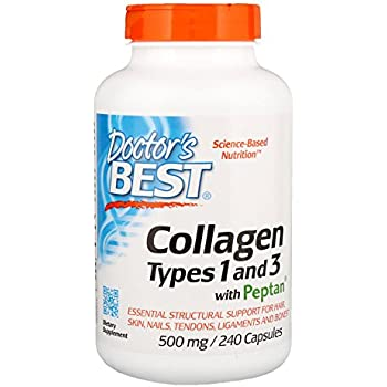 Doctors Best Collagen Types 1 and 3 with Peptan, Non-GMO, Gluten Free, Soy Free, Supports Hair, Skin, Nails, Tendons and Bones, 500 mg, 240 Caps