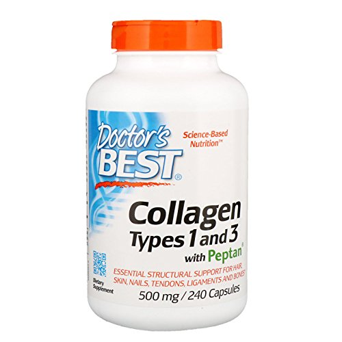 Doctor's Best Collagen Types 1 and 3 with Peptan, Non-GMO, Gluten Free, Soy Free, Supports Hair, Skin, Nails, Tendons and Bones, 500 mg, 240 Caps