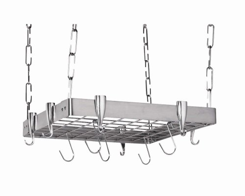 Stainless steel square hanging pot-rack.