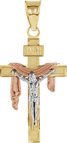 Tri-Color Crucifix with Shroud Rhodium-Plated 14k White, Yellow and Rose Gold Pendant (Tri Color Crucifix)