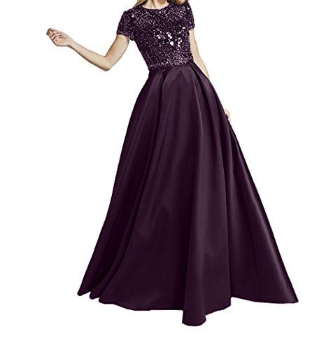 Damen Festlichkleider Brautmutterkleider Navy Blau Ballkleider A Kurzarm Charmant Pailletten Traube Linie Satin Abendkleider Rock p8wqa8x