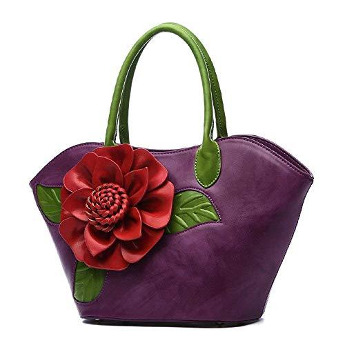 Hombro Púrpura Pu Cuerpo rojo Cruzado Bolso Flores Messenger niñas De Tridimensional Rojo Para color Mujeres Yisaesa Retro Tamaño TqYCww4
