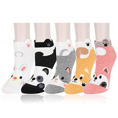 Womens Ankle Socks Novelty Girls 3D Cartoon Cute Animal Fluffy Paw Slilly Funny Low Cut Cotton Socks 5 Pack Cat Dog Fox Bear Rabbit Panda