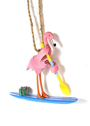 Pink Flamingo in Red Polka Dot Bikini Paddle Boarding Christmas Holiday Ornament