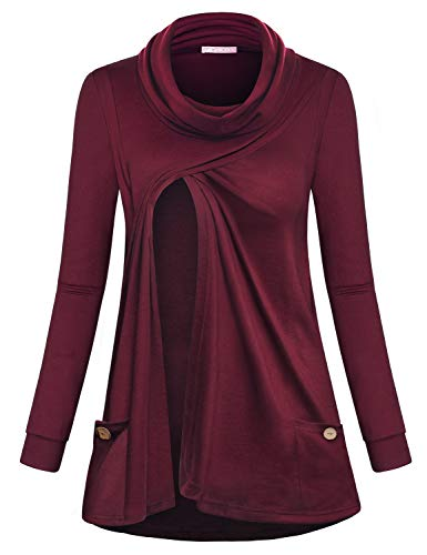 JOYMOM Breastfeeding Shirts, Women's Long Sleeve Cowl Neck Asymmetrical Hem Maternity Nursing Tops Pregnant Casual Double Layers Postpartum Lactation Tunic Sweatshirt with Pockets Wine XL