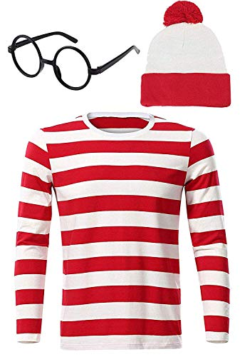 Riekinc Men Waldo Red and White Striped Shirt Halloween Cosplay Costume Mens ()