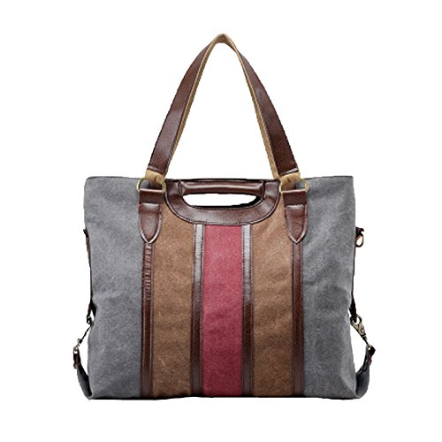 Shoulder Gray Señoras Las Bags Capacidad Se Hobo La Bag Handbaag Lona Totes De Moda Casual Gran Rayan Uqaf7w