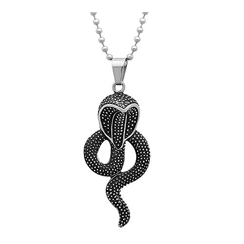 2.5 Inch Stainless Steel Cobra Snake Pendant without (King Cobra Snake Pendant)