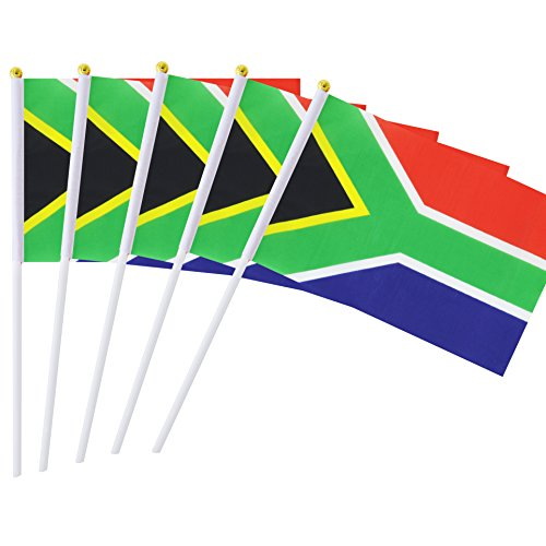 AuTop 50 Pack Small Mini South Africa African Stick Flag,Hand Held International Countries Stick Flags Banner World Cup Decorations