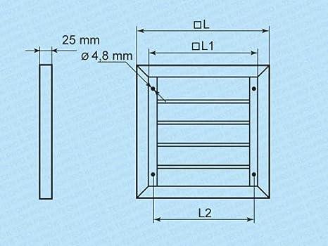 Grille de protection contre les intemp/éries Grille de ventilation Montage en saillie avec lamelles