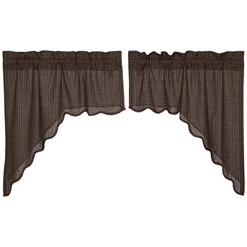 (VHC Brands Classic Country Primitive Kitchen Window Curtains Black 7181 Kettle Grove Scalloped Plaid Swag Set)